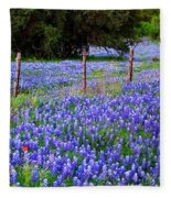 Hill Country Heaven - Texas Bluebonnets Wildflowers Landscape Fence Flowers Fleece Blanket