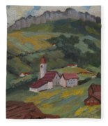 Hilltop Village Switzerland Fleece Blanket