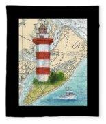 Hilton Head Island Lighthouse Sc Nautical Chart Map Art Cathy Peek Fleece Blanket