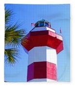 Hilton Head Lighthouse Upclose Fleece Blanket