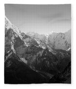 Himalaya Mountains Black And White Fleece Blanket