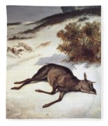 Hind Forced Down In The Snow Fleece Blanket