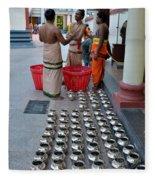 Hindu Priests Prepare Offering To Gods Fleece Blanket