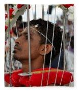 Hindu Thaipusam Festival Pierced Devotee In Singapore Fleece Blanket