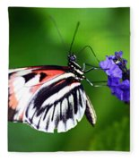 Hint Of Red Butterfly Fleece Blanket