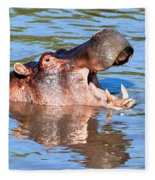 Hippo With Open Mouth In River. Serengeti. Tanzania Fleece Blanket