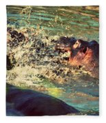 Hippopotamus Fight In River. Serengeti. Tanzania Fleece Blanket