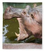 Hippopotamus With Open Mouth Fleece Blanket