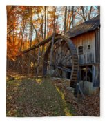 Historic Grist Mill With Fall Foliage Fleece Blanket