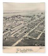 Historic Map Of Plano Texas 1891 Fleece Blanket