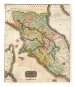 Historic Map Of Tuscany 1814 Fleece Blanket
