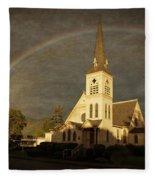 Historic Methodist Church In Rainbow Light Fleece Blanket