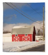 Historic Red Barn On A Snowy Winter Day Fleece Blanket