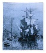 Historic Seaport Blue Schooner Fleece Blanket