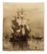 Historic Seaport Schooner Fleece Blanket