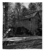 Historical 1868 Cades Cove Cable Mill In Black And White Fleece Blanket