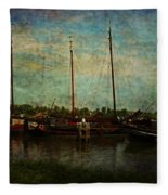 Historical Harbor Woudrichem The Netherlands Fleece Blanket