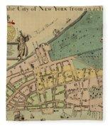 Historical Manhattan Map 1728 Fleece Blanket