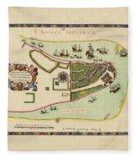 Historical Map Of Manhattan 1661 Fleece Blanket
