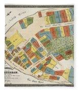 Historical Map Of Manhattan Fleece Blanket
