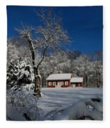 Historical Society House In The Snow Fleece Blanket