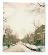 Hiver Psc Winter In The Point Snowy Day Paintings Montreal Art Cityscenes Brick Houses Snowed In Fleece Blanket