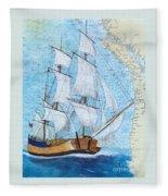 Hms Endeavour Tall Sailing Ship Chart Map Art Peek Fleece Blanket