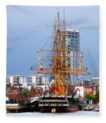 Hms Warrior Portsmouth Fleece Blanket