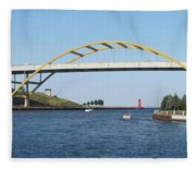 Hoan Bridge Boats Light House 1 Fleece Blanket