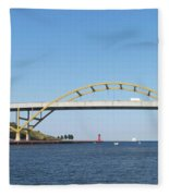 Hoan Bridge Boats Light House 4 Fleece Blanket