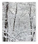 Hoar Frost Covered Trees In Forest Fleece Blanket