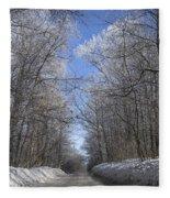 Hoar Frost On Campground Road Fleece Blanket