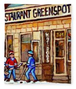 Hockey And Hotdogs At The Greenspot Diner Montreal Hockey Art Paintings Winter City Scenes Fleece Blanket