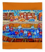 Hockey Art Collectible Cards And Prints Snowy Day  Neighborhood Rinks Verdun Montreal Art C Spandau Fleece Blanket