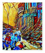 Hockey Art Montreal Winter Scene Winding Staircases Kids Playing Street Hockey Painting  Fleece Blanket
