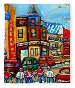 Hockey Art Montreal Winter Street Scene Painting Chez Vito Boucherie And Fairmount Bagel Fleece Blanket