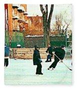 Hockey Art Shimmy Game Local Rink Montreal Paintings Winter Street Scene Verdun Art Carole Spandau Fleece Blanket