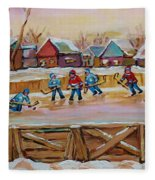 Hockey Game-outdoor Hockey -beautiful Canadian Winter Landscape-hockey Heroes-carole Spandau Fleece Blanket