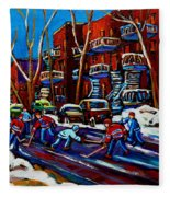 Hockey On De Bullion Montreal Fleece Blanket