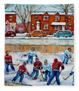 Hockey Rink At Van Horne Montreal Fleece Blanket