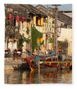 Hoi An Fishing Boat 02 Fleece Blanket