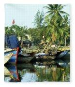 Hoi An Fishing Boats 01 Fleece Blanket