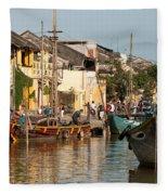 Hoi An Fishing Boats 02 Fleece Blanket