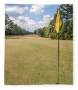Hole Flag At A Golf Course Fleece Blanket