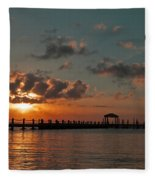 Holgate Bay Sunset Fleece Blanket