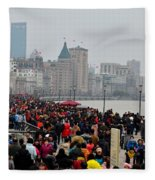 Holiday Crowds Throng The Bund In Shanghai China Fleece Blanket