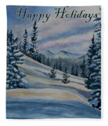 Happy Holidays - Winter Landscape Fleece Blanket