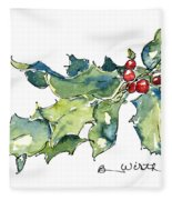 Holiday Holly Fleece Blanket