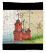 Holland Harbor Lighthouse Mi Nautical Chart Map Art Fleece Blanket