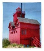 Holland Harbor And Big Red Fleece Blanket